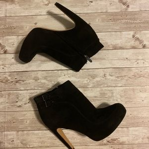 Sam Edelman Black Suede Side Buckle Ankle Booties